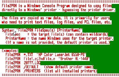 Download File2PRN - Console Mode File Printer