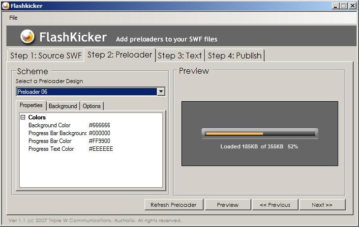 FlashKicker Flash Preloader Software - standaloneinstaller com