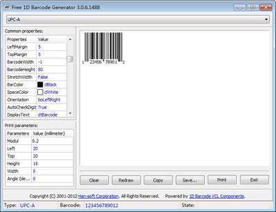 Free 1D Barcode Generator