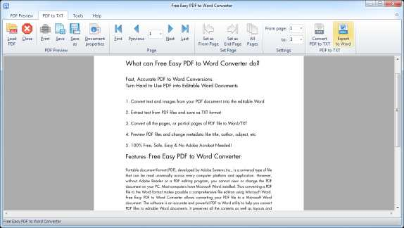 Free Easy PDF to Word Converter