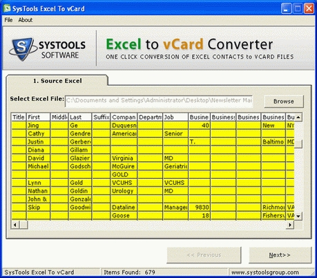 Free Excel to vCard - standaloneinstaller com