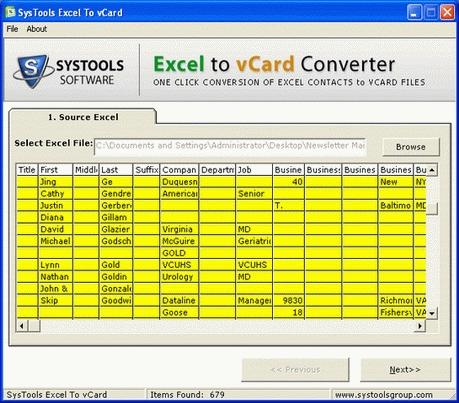 Download Free Excel to vCard