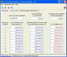 Download Free Pay Down Debt or Invest Calculator