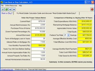 Download Free Rent or Buy Calculator