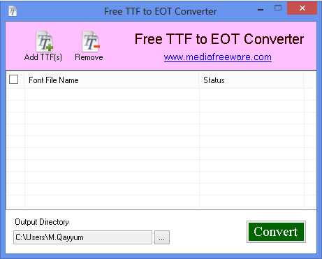Free TTF to EOT Converter