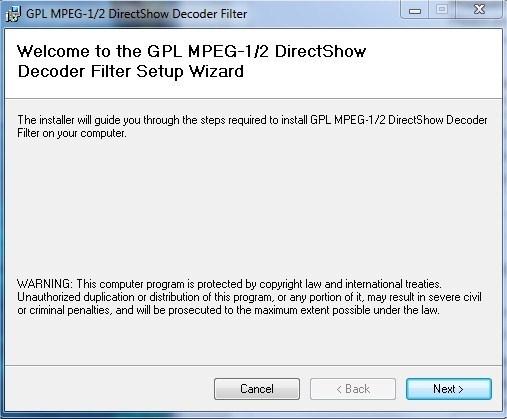 GPL MPEG 1 2 Directshow Decoder
