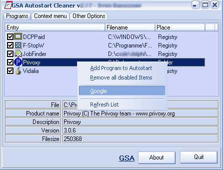 Download GSA Autostart Cleaner