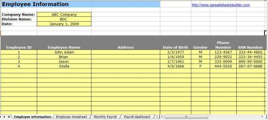 hr payroll spreadsheet template