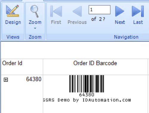 IDAutomation Linear SSRS Barcode Script
