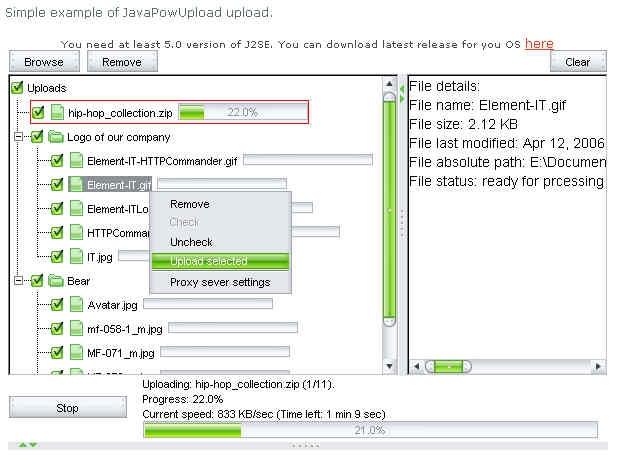 JavaPowUpload - standaloneinstaller com