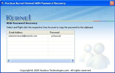 Download Kernel Hotmail MSN Password Recovery