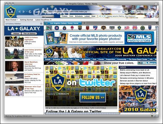 Download LA Galaxy MLS Soccer Firefox Theme