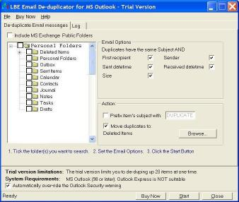 Download LBE Email Deduplicator for MS Outlook