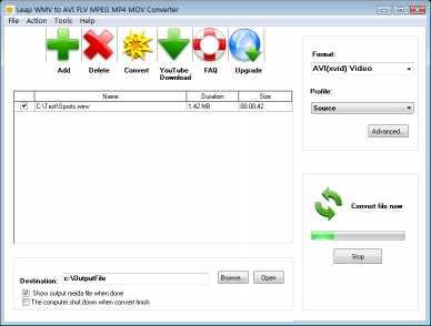 Leap WMV to AVI FLV MPEG MP4 Converter