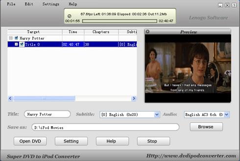 lenogo dvd movie to ipod video converter
