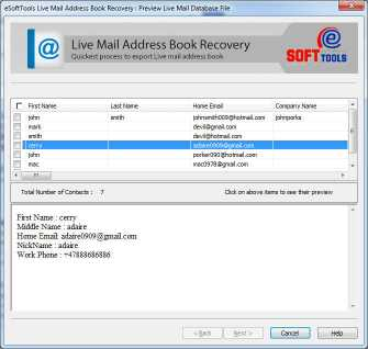 Live Mail Contacts Export