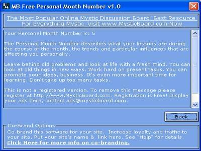 Download MB Personal Month Number