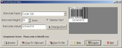 Download MemDB Barcode Maker