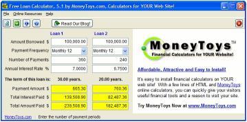 Download MoneyToys Free Loan Calculator