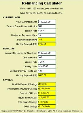Download MoneyToys Refinancing Calculator