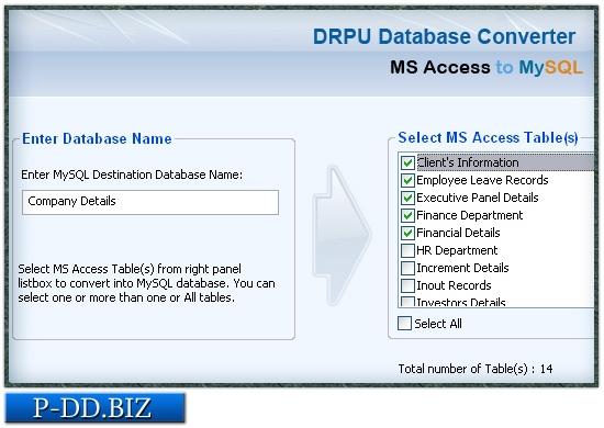 MS Access to MySQL Db Converter - standaloneinstaller com
