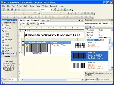 Download MS SQL Reporting Services Barcode .NET