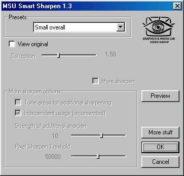 MSU Smart Sharpen for VirtualDub Video plugin