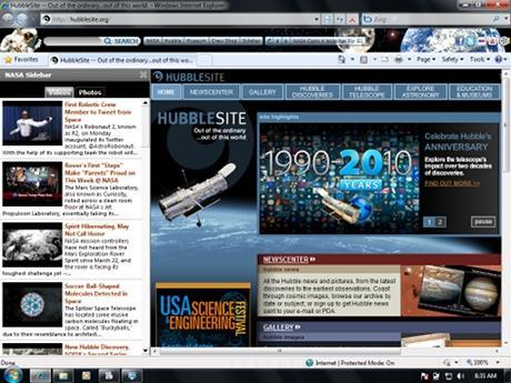 Download NASA Space Internet Explorer Theme