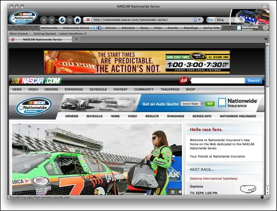 Download NASCAR Nationwide Series Firefox Theme