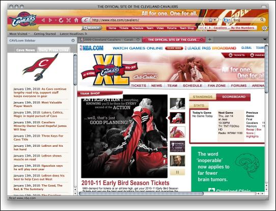 Download NBA Cleveland Cavaliers Firefox Theme