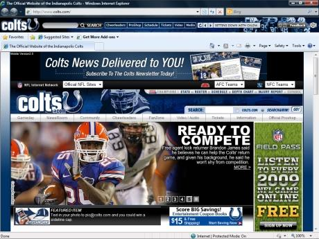 Download NFL Indianapolis Colts IE Browser Theme