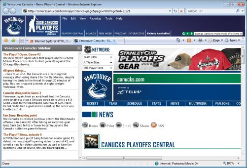 Download NHL Vancouver Canucks IE Browser Theme