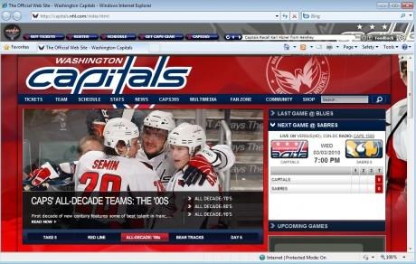 Download NHL Washington Capitals IE Browser Theme