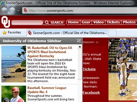 Download Oklahoma Sooners IE Browser Theme