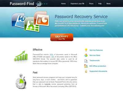 Password Find service for MS Word