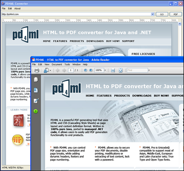 PD4ML  HTML to PDF converter for Java