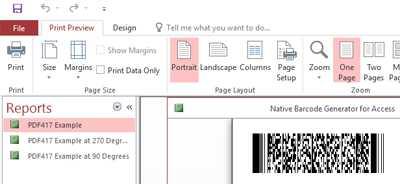 PDF417 Native Access Barcode Generator
