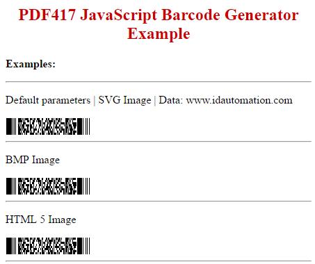 PDF417 SVG JavaScript Barcode Generator by IDAutomation