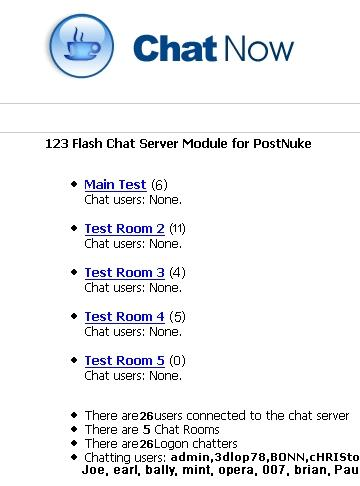 Download PostNuke Chat Module for 123 Flash Chat