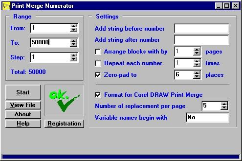 Download Print Merge Numerator - for Corel DRAW