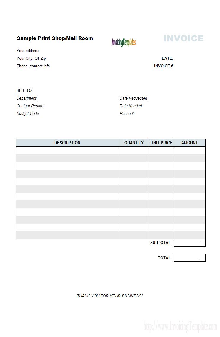 Printable Invoice Template Standaloneinstaller Com