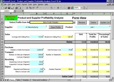 Download Product and Supplier Profitability Excel