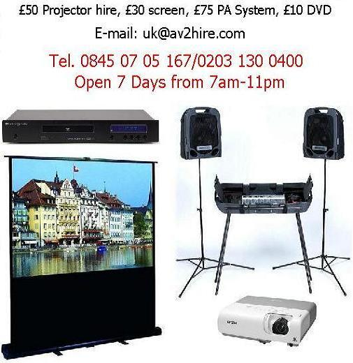 projectors, screens, pa systems mic hire