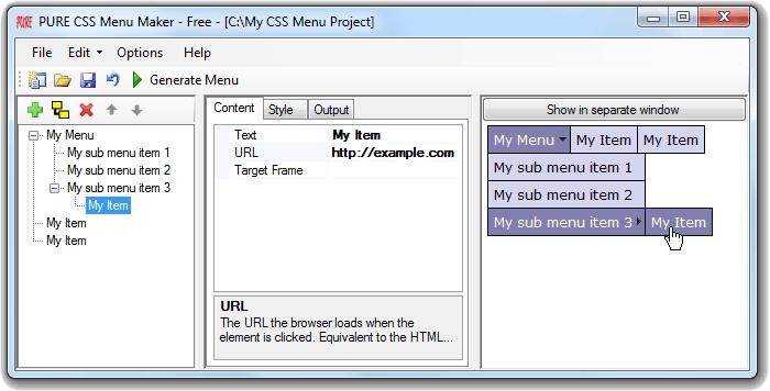 PURE CSS Menu Maker - Free - standaloneinstaller com
