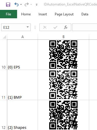 QR-Code Native Excel Barcode Generator