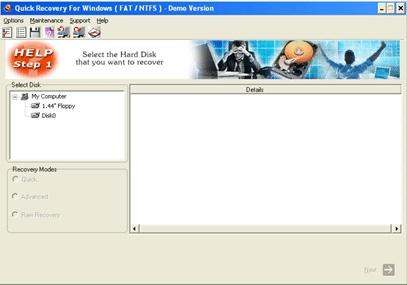 Download Quick Recovery for Windows FAT & NTFS - A Data Recovery Product