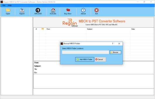 Regain MBOX to PST Converter