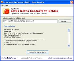 Download SysTools Lotus Notes Contacts to GMAIL