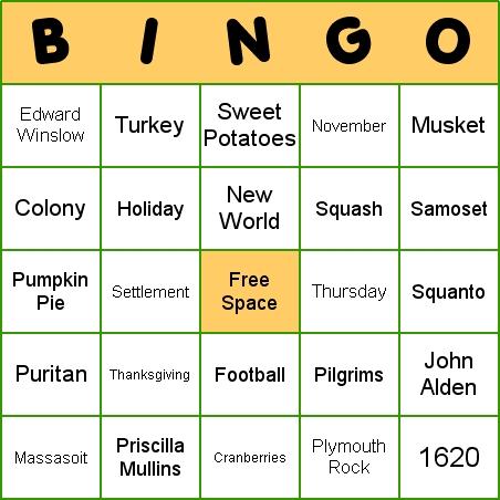 photo regarding Free Printable Thanksgiving Bingo titled Thanksgiving Bingo -