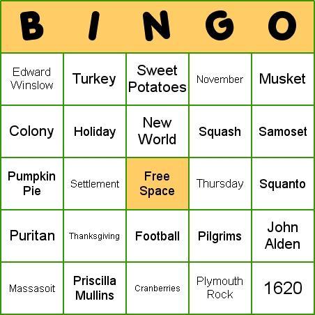 Download Thanksgiving Bingo